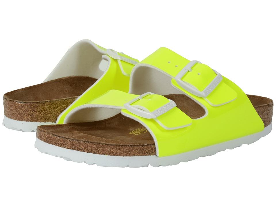 Birkenstock Arizona Neon Yellow Patent Birko Flor Womens Dress Sandals