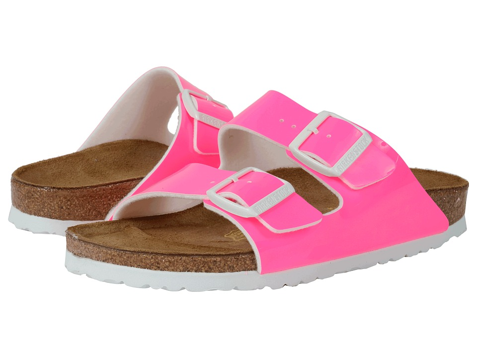 Birkenstock Arizona Neon Pink Patent Birko Flor Womens Dress Sandals