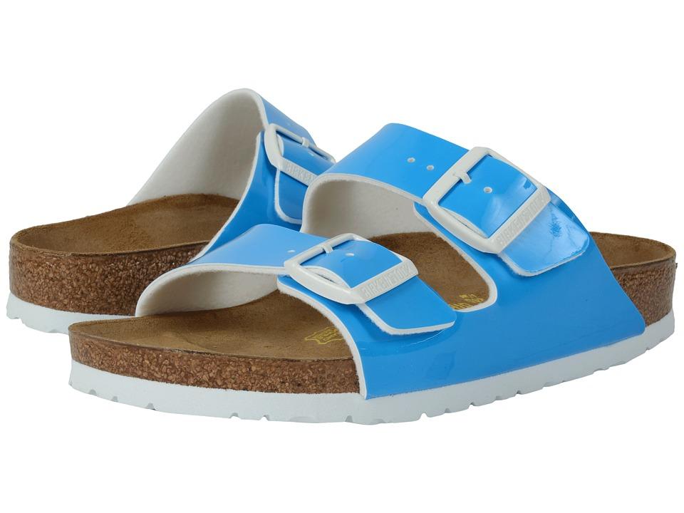 Birkenstock Arizona Neon Blue Patent Birko Flor Womens Dress Sandals