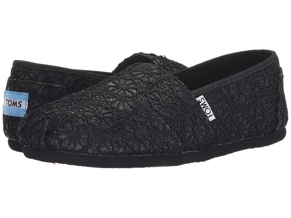 TOMS Crochet Classics Black Crochet Glitter Womens Slip on Shoes
