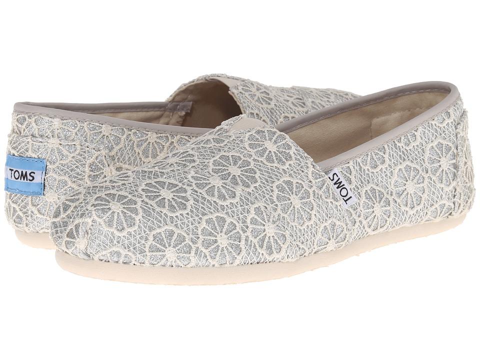 TOMS Crochet Classics Silver Crochet Glitter Womens Slip on Shoes