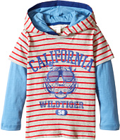 Pumpkin Patch Kids - Stripe Hooded Mock Long Sleeve Tee (Infant/Toddler/Little Kids)