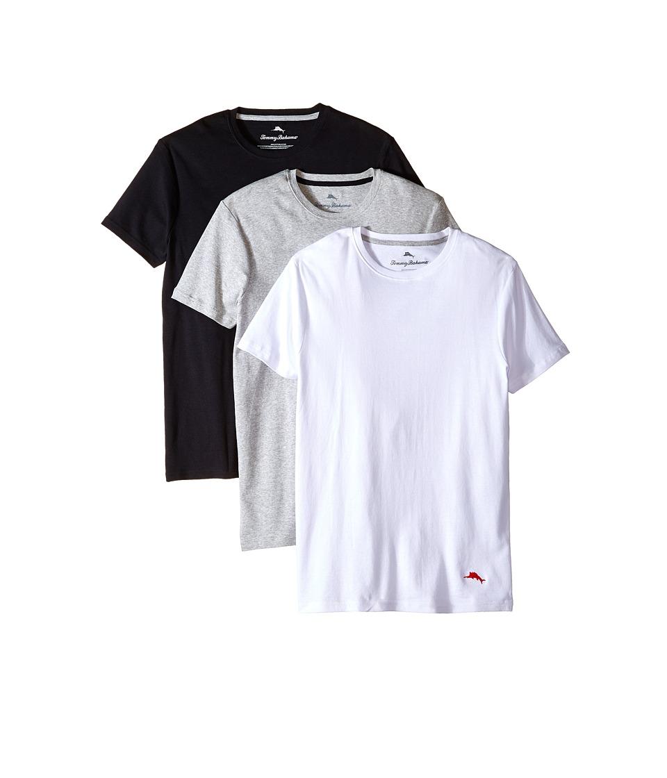 Tommy Bahama Breathe Easy Crew Neck T-Shirt 3-Pack (Black/Grey/White) Men
