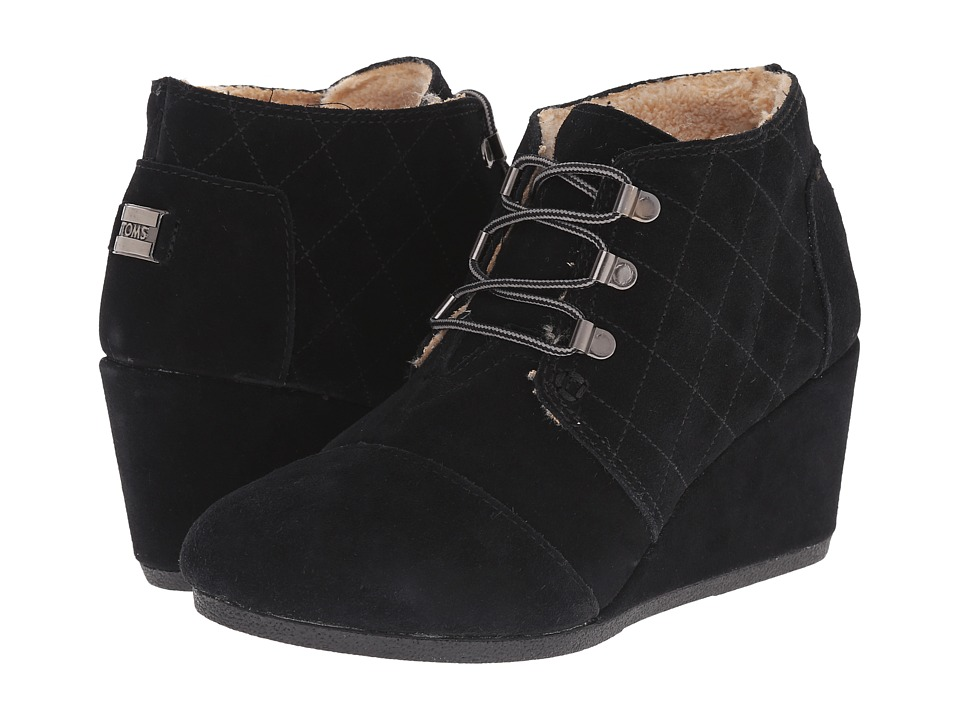 TOMS Desert Wedge Black Suede W/Shearling Womens Wedge Shoes
