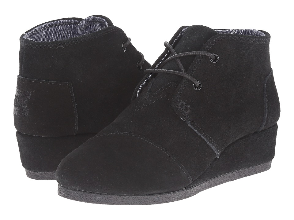 TOMS Kids Desert Wedge Bootie (Little Kid/Big Kid) (Black Suede) Kids Shoes