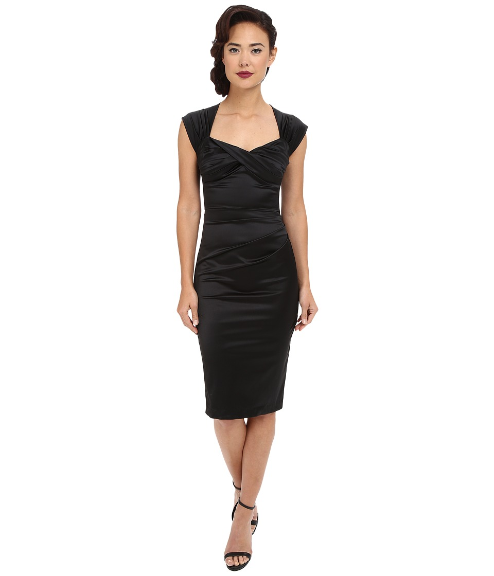 Stop Staring - Love Fitted Dress Black Satin Womens Dress $197.00 AT vintagedancer.com