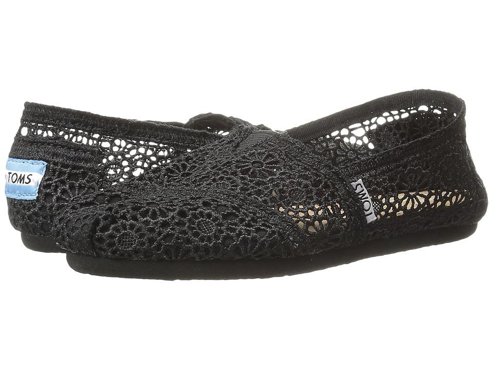 TOMS Crochet Classics Black Morocco Crochet Womens Slip on Shoes