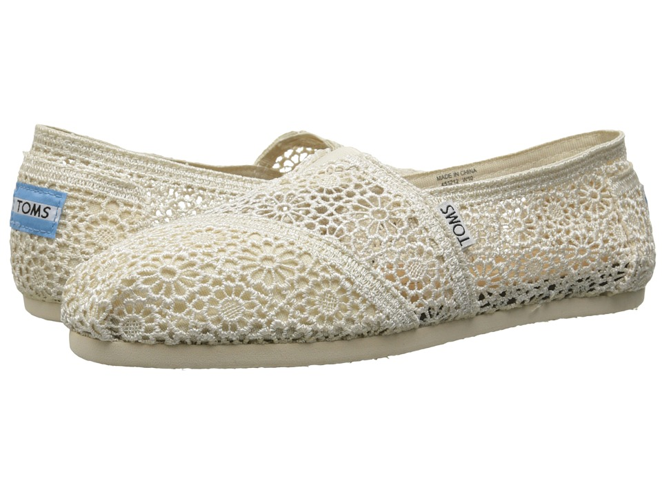 TOMS Crochet Classics Natural Morocco Crochet Womens Slip on Shoes