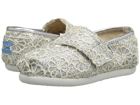 TOMS Kids Seasonal Classics (Infant/Toddler/Little Kid) - Silver Crochet Glitter