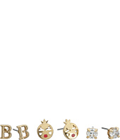 Betsey Johnson - CZ Initial Stud Earrings Set