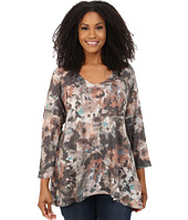 Nally & Millie - Plus Size V-Neck Brown Floral Tunic