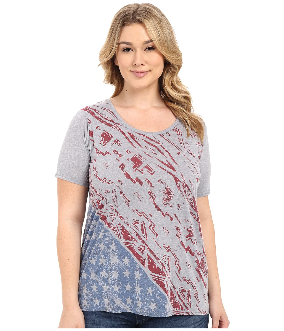Roper - Plus Size 0227 Lightweight Heather Jersey Tee (Grey) Women