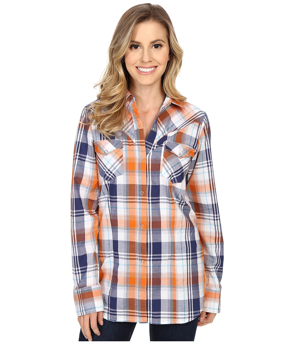 Roper 0189 Relic Plaid Blue Womens Long Sleeve Button Up