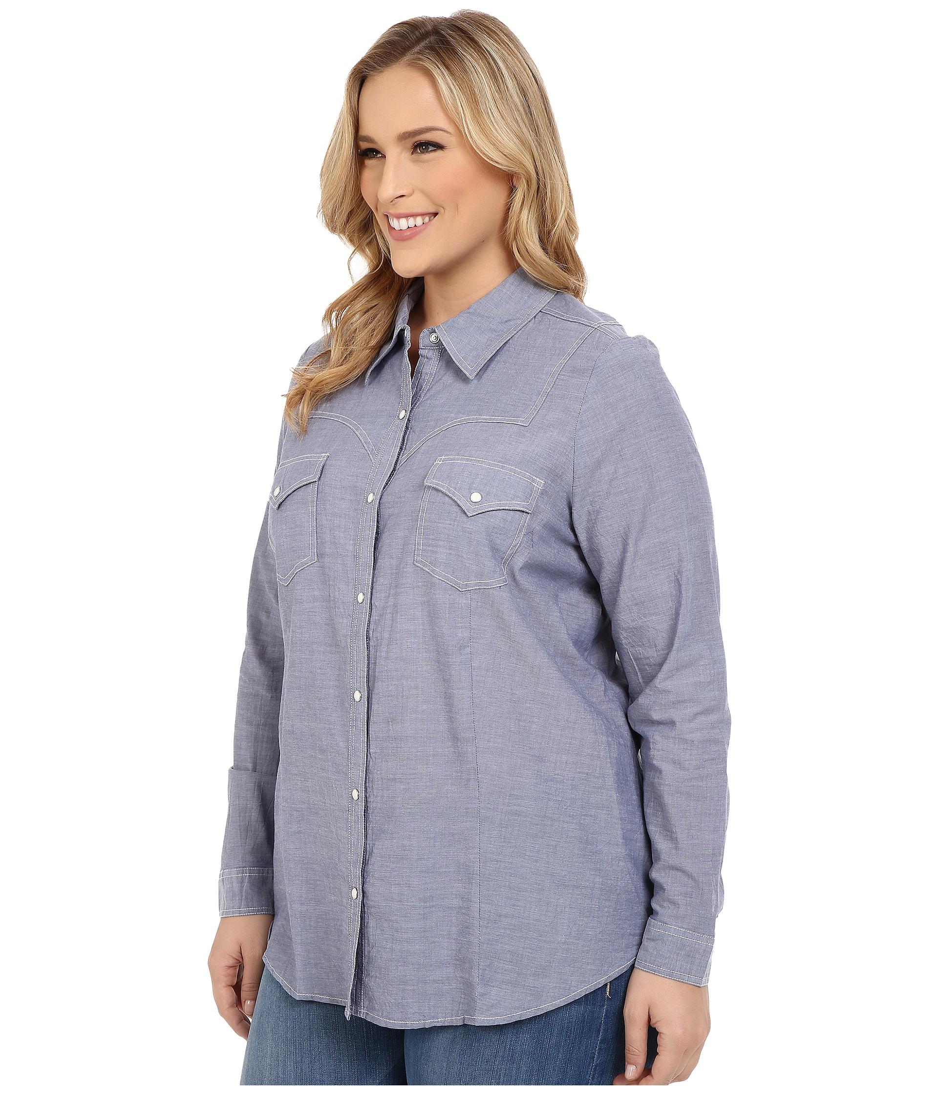 Roper Plus Size 0201 Chambray Shirt Blue Free