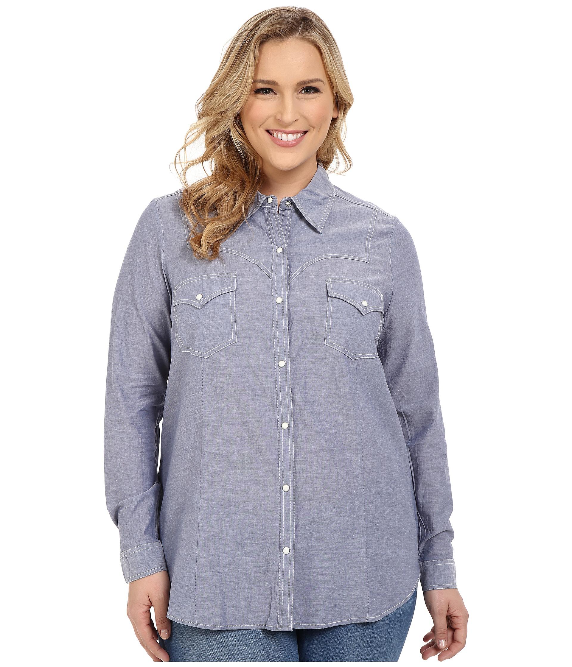 Roper Plus Size 0201 Chambray Shirt At