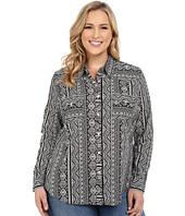 Roper - Plus Size 0202 Aztec Printed Stripe Lawn Shirt