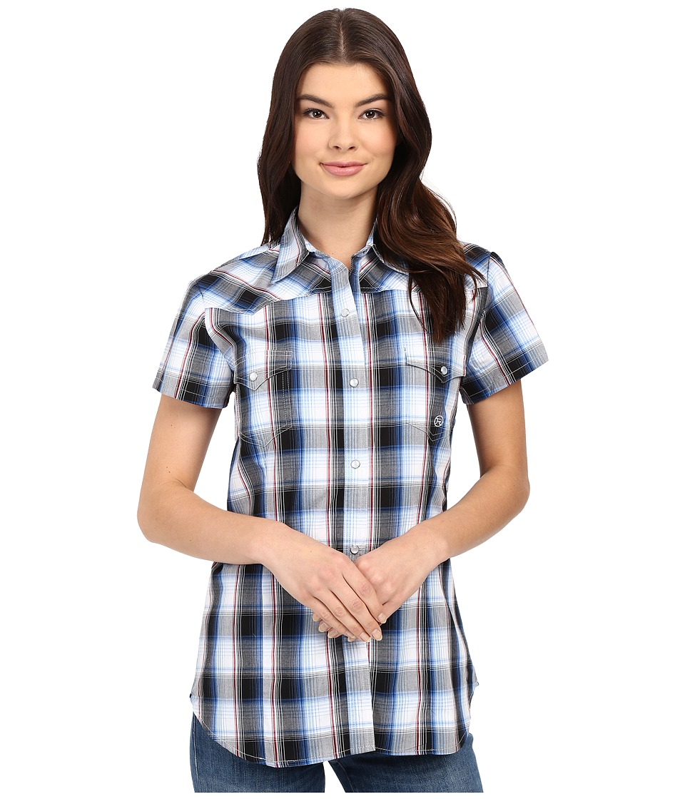 Roper 0166 Stone Plaid Blue Womens Clothing