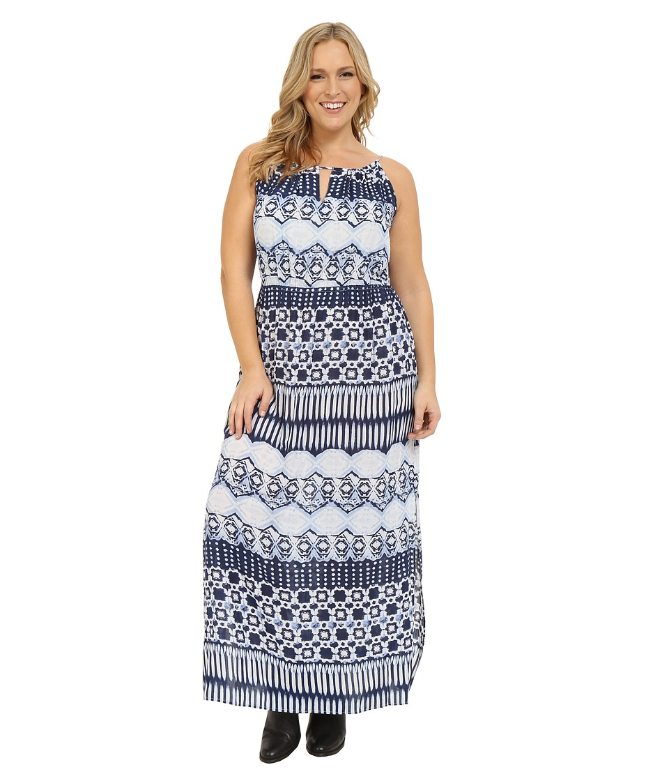 Roper Plus Size 0235 Aztec Stripe Printed Maxi Dress Blue Womens Dress