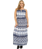 Roper - Plus Size 0235 Aztec Stripe Printed Maxi Dress