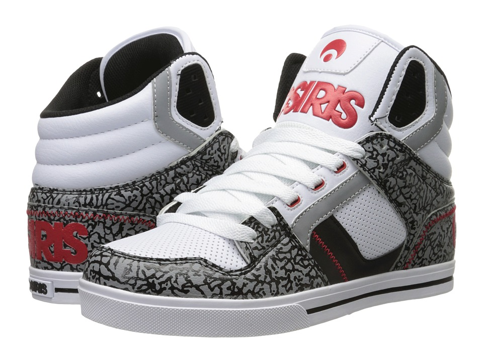 Osiris Clone White/Red/Elephant Mens Skate Shoes