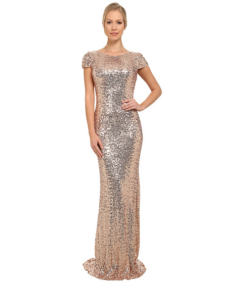 Badgley Mischka - Stretch Sequin Cowl Back Gown (Blush) Women's Dress