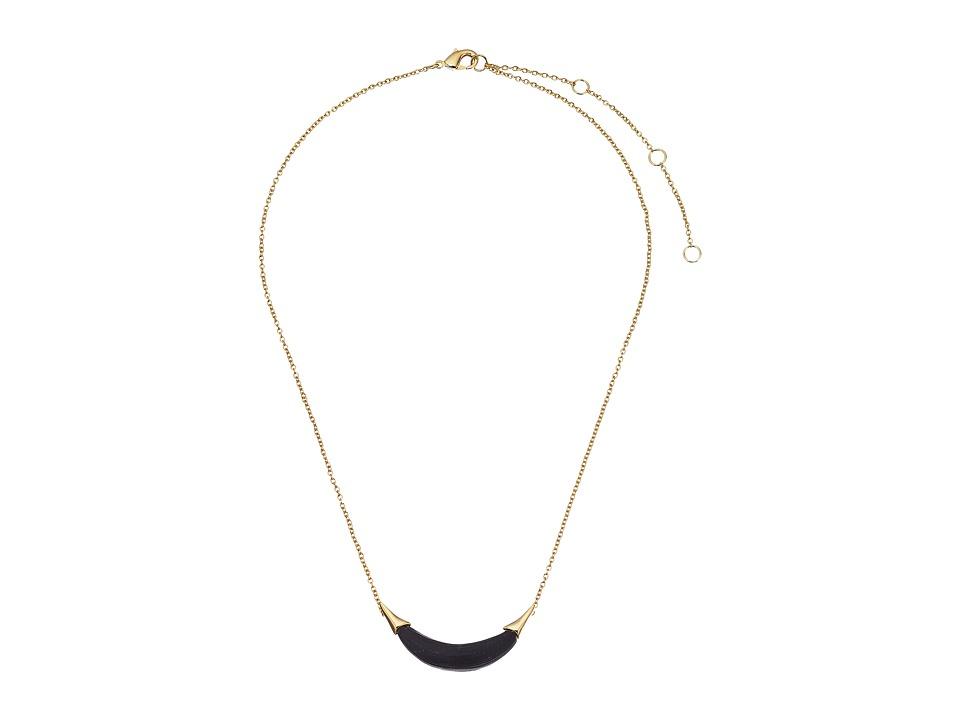 Alexis Bittar Gold Crescent Pendant Necklace Black Necklace