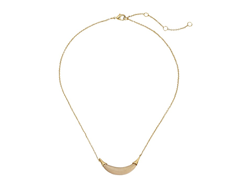 Alexis Bittar Gold Crescent Pendant Necklace Warm Grey Necklace