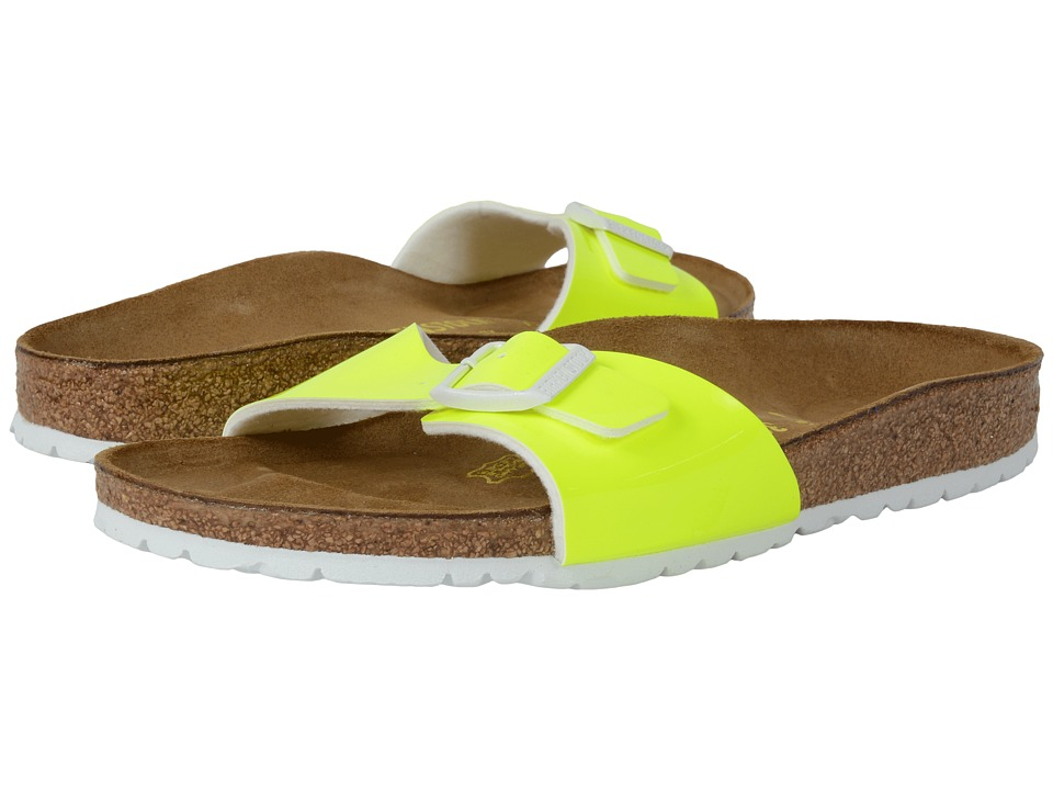 Birkenstock Madrid Neon Yellow Patent Birko Flor Womens Shoes