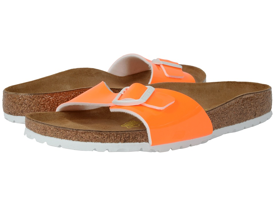 Birkenstock Madrid Neon Orange Patent Birko Flor Womens Shoes