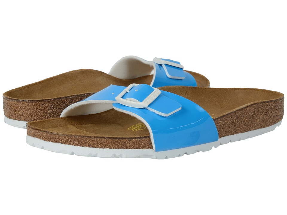 Birkenstock Madrid Neon Blue Patent Birko Flor Womens Shoes