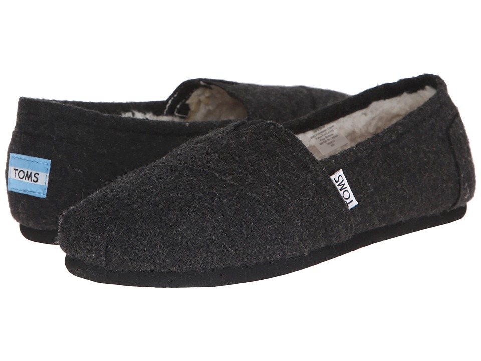 TOMS Seasonal Classics Black Woolen Womens Slip on Shoes