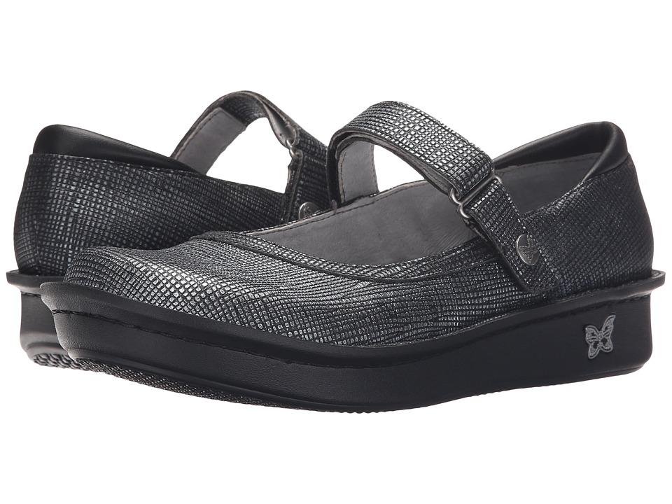 Alegria Belle Grid Silver Womens Maryjane Shoes