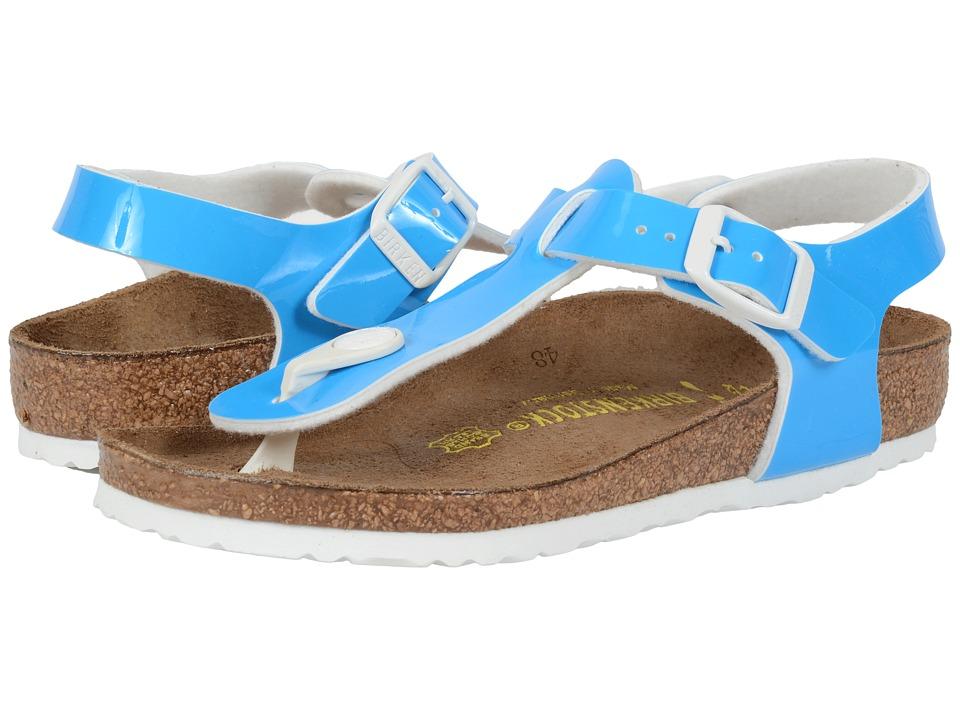 Birkenstock Kids Kairo Little Kid/Big Kid Neon Blue Patent Birko Flor Girls Shoes
