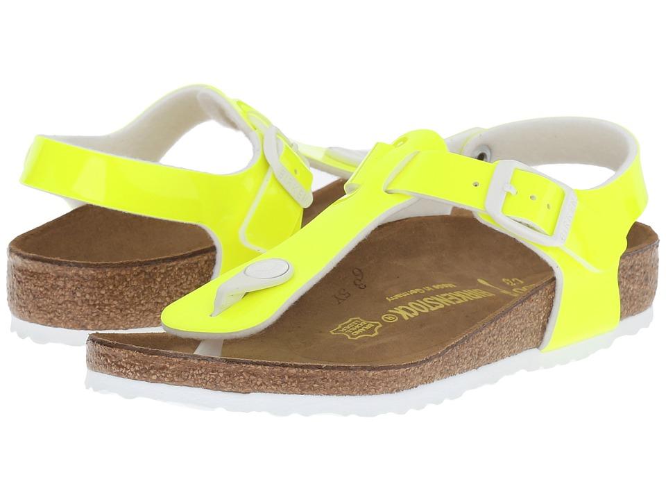 Birkenstock Kids Kairo Little Kid/Big Kid Neon Yellow Patent Birko Flor Girls Shoes