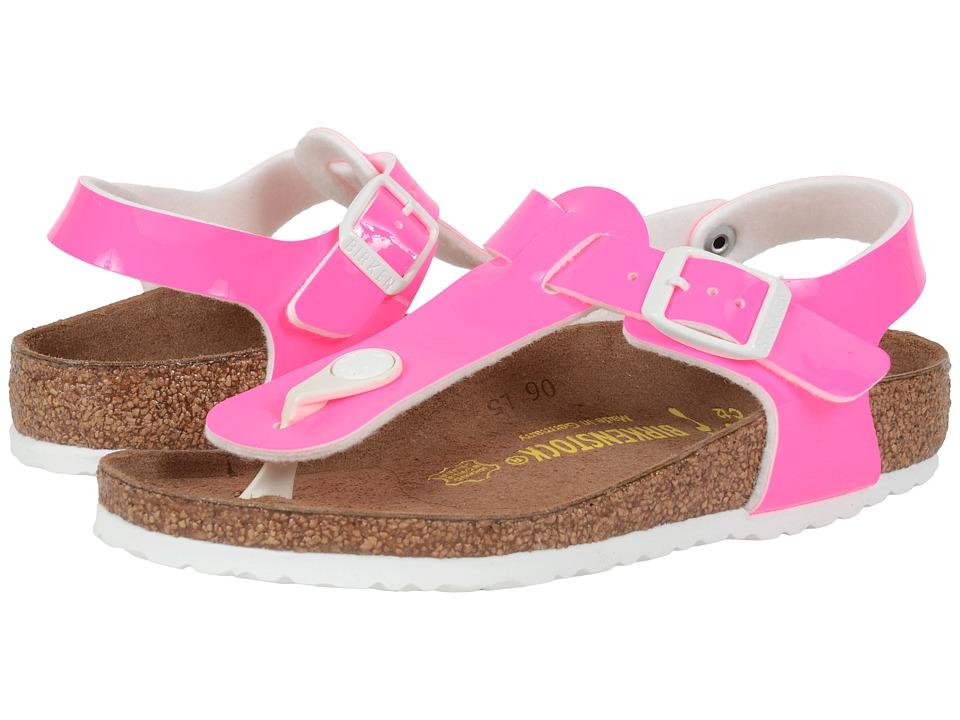 Birkenstock Kids Kairo Little Kid/Big Kid Neon Pink Patent Birko Flor Girls Shoes