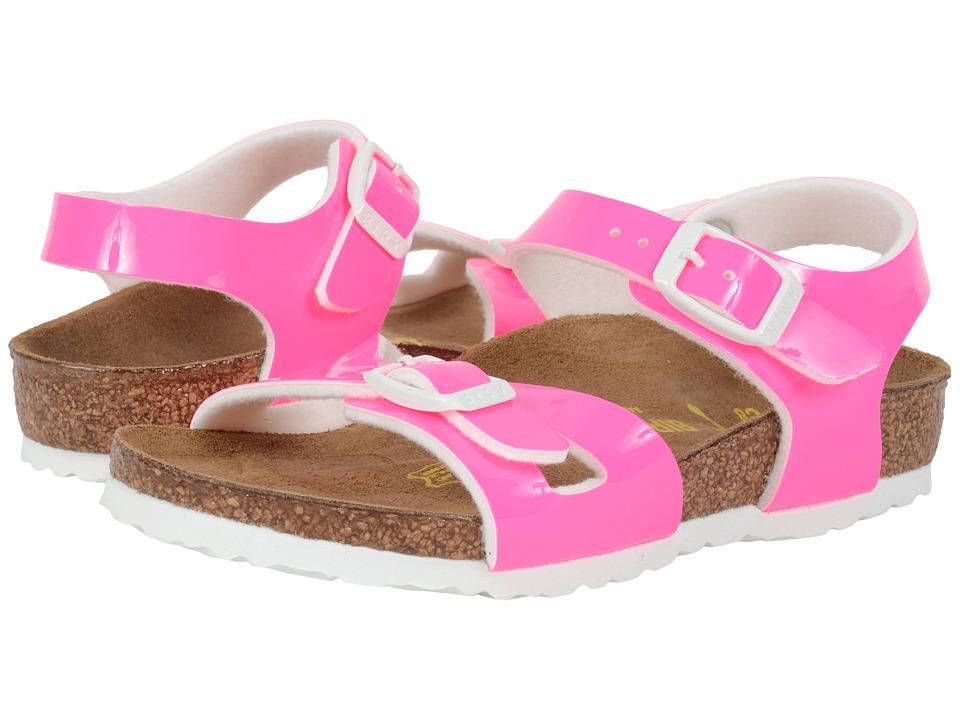 Birkenstock Kids Rio Toddler/Little Kid/Big Kid Neon Pink Patent Birko Flor Girls Shoes