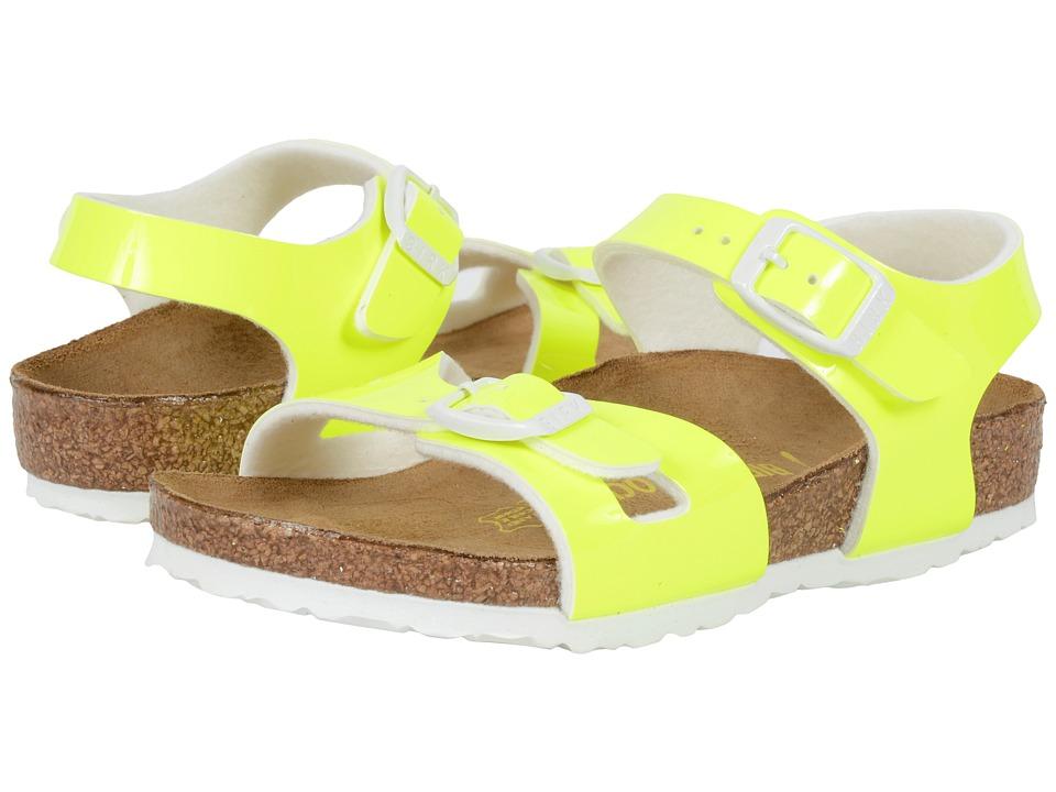 Birkenstock Kids Rio Toddler/Little Kid/Big Kid Neon Yellow Patent Birko Flor Girls Shoes