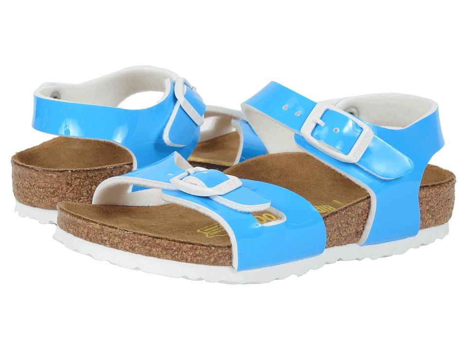 Birkenstock Kids Rio Toddler/Little Kid/Big Kid Neon Blue Patent Birko Flor Girls Shoes