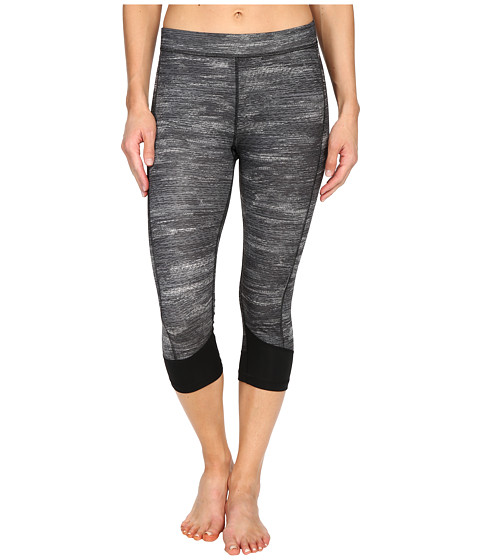 adidas Techfit Capris w/ Macro Heather Print - Dark Grey Heather/Black/Matte Silver