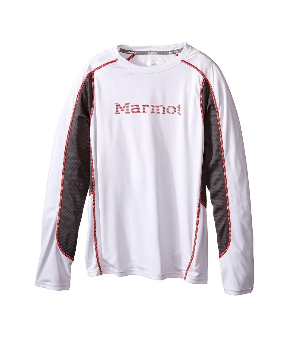 Marmot Kids Windridge w/ Graphic L/S Top Little Kids/Big Kids White/Cinder Boys Long Sleeve Pullover