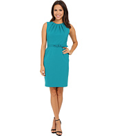 Nine West - Bi Stretch Pintuck Neck Belted Dress