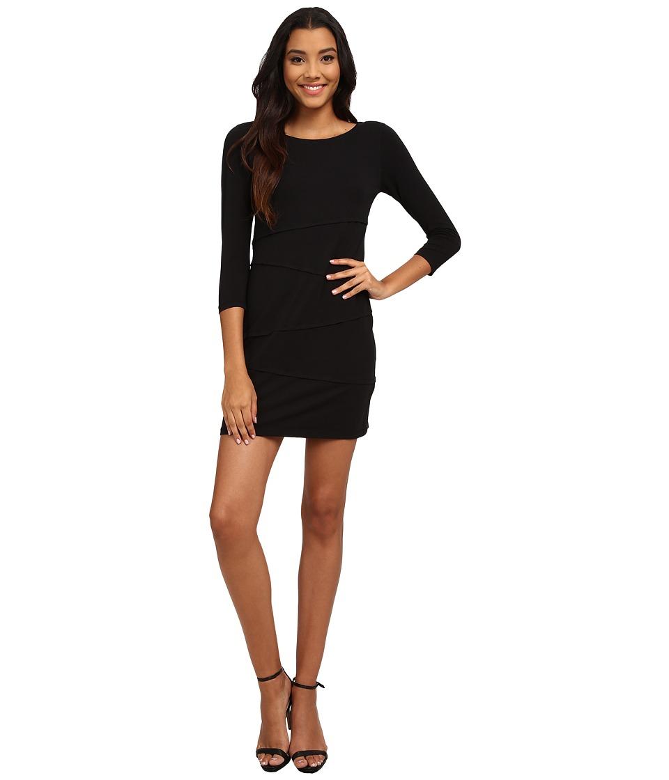 Mod o doc Cotton Modal Spandex Jersey 3/4 Sleeve Asymmetrical Tiered Dress Black Womens Dress