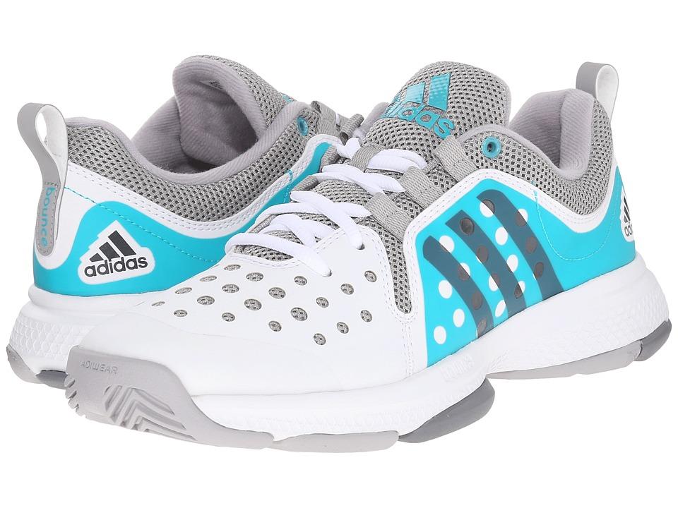 adidas - Barricade Classic Bounce (White/Night Metallic/Shock Green) Womens Running Shoes