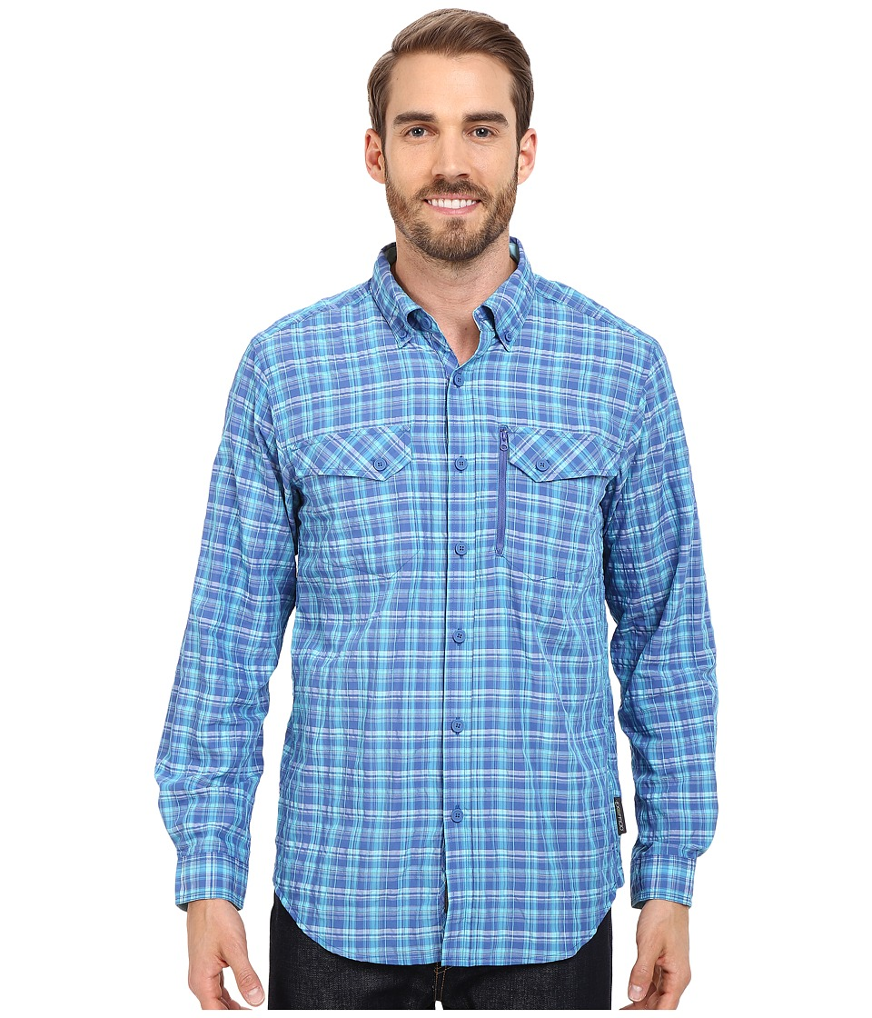 ExOfficio Sol Cool Cryogen Plaid Long Sleeve Shirt Prussian Mens Long Sleeve Button Up