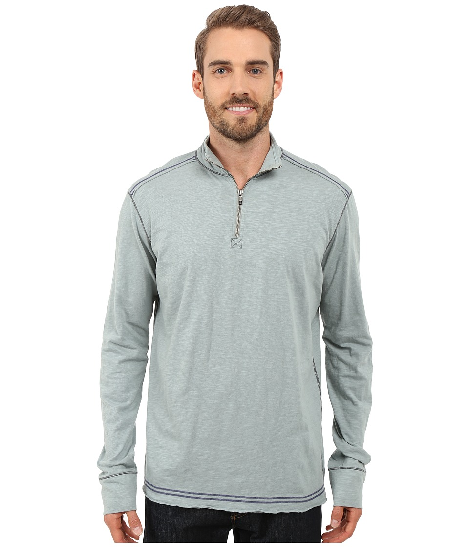 Ecoths Black Rock 3/4 Zip Shirt Silver Blue Mens Long Sleeve Pullover