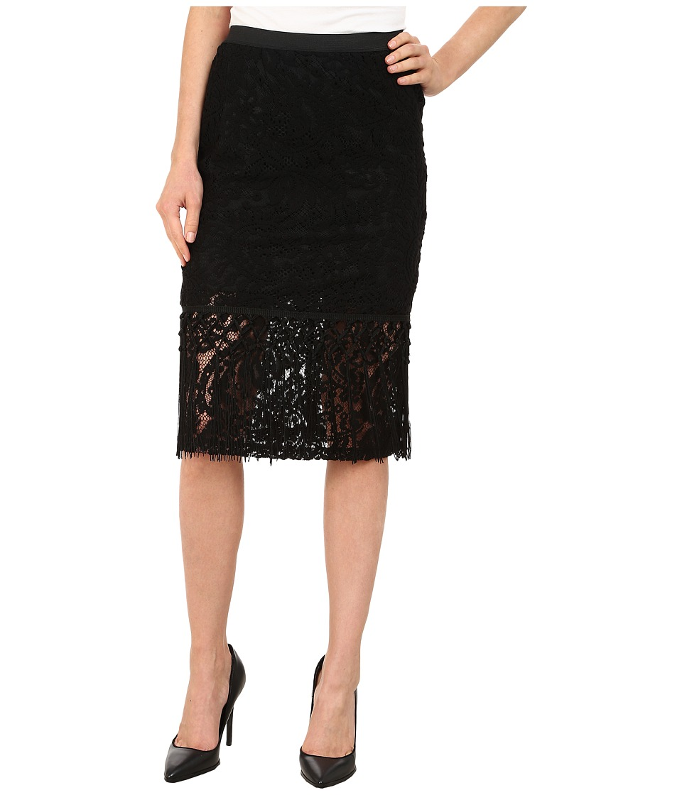 Bobeau Lace Fringe Pencil Skirt Black Womens Skirt