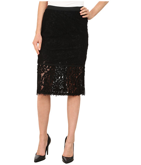 B Collection by Bobeau Lace Fringe Pencil Skirt - Black