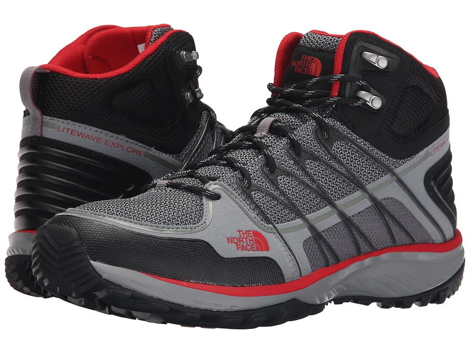The North Face - Litewave Explore Mid (Monument Grey/Pompeian Red) Men