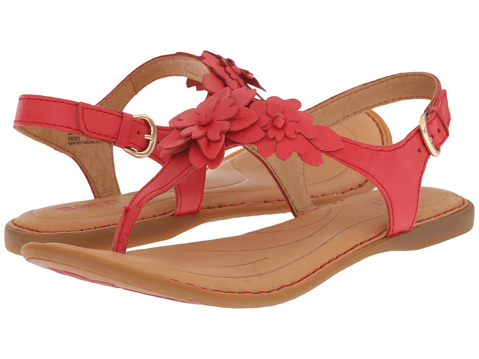 Born DAnna Red Full Grain Leather Womens Sandals