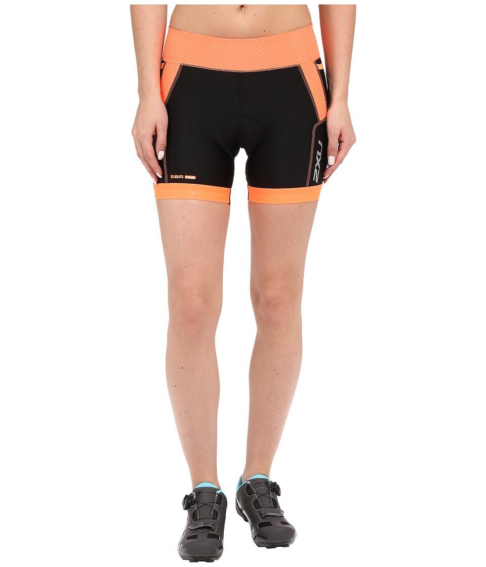 2XU Perform Tri Shorts Black/Sunburst Orange Print Womens Shorts